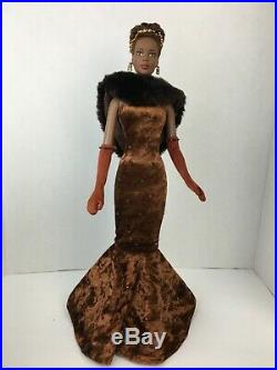 Bronze Siren Esme sunning brown velvet tiny braid hairstyle dressed doll Tonner